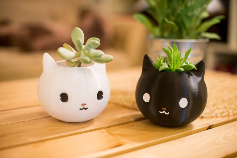 Cat lover gift Cat Planter 3d printed animal planter Cat image 0
