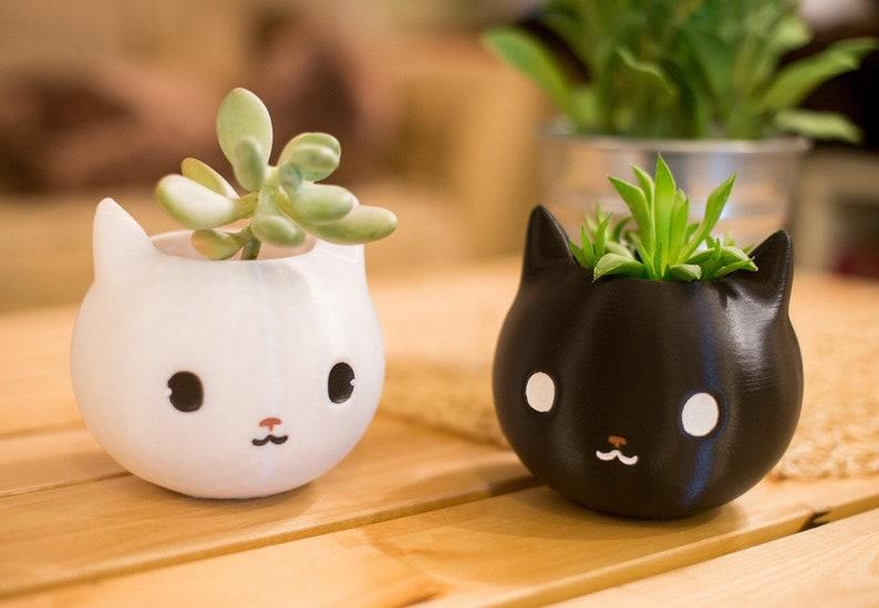 Cat Planter Black cat Cat lover gift Animal planter Cat image 0