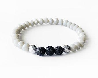 COOL • SLATE • Essential Oil Diffuser Bracelet • Lava • Silver Hematite • Faceted Crystal • Aromatherapy • Bracelet