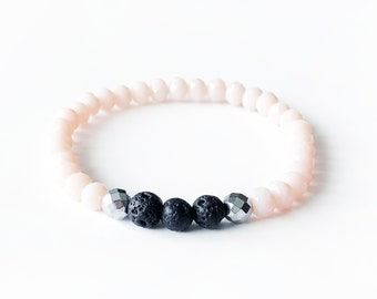 COOL •BLUSH • Essential Oil Diffuser Bracelet • Lava • Silver Hematite • Faceted Crystal • Aromatherapy • Bracelet