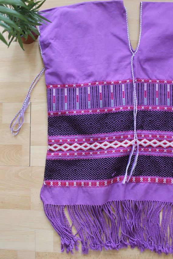 Purple Embroidered hippie Poncho Vest - image 2