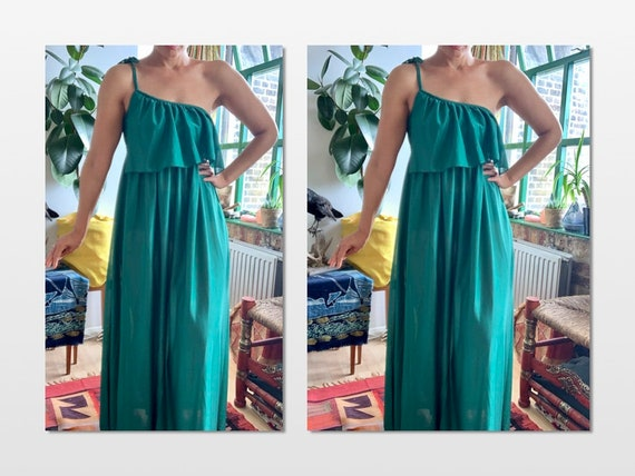QUAD Green one shoulder Maxi disco/ psych Dress