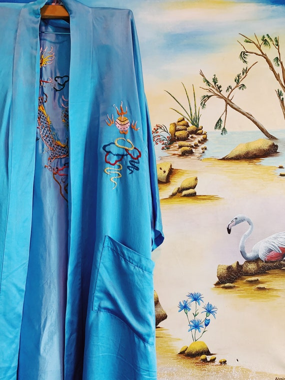 All Silk Stunning Chinese Dragon Embroidered kIMON
