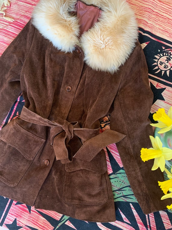 70s brown suede faux Fur collar coat