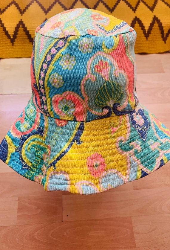 RESERVED RARE 60s Psychedelic Print Bucket Hat - image 6