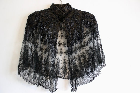 Victorian Black Lace beaded cape