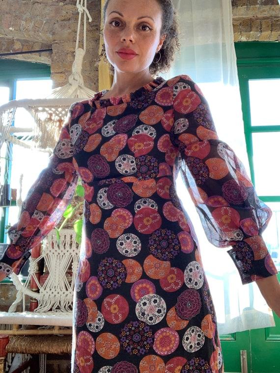 60s/70s Psych Print Maxi Dress