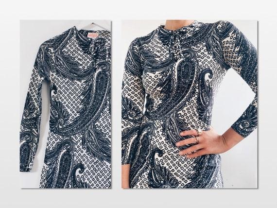 60s Psych Monochrome Jersey Dress by St Michael