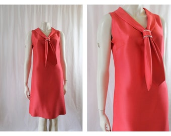 Hot Pink 60's Couture Cut Shift Dress