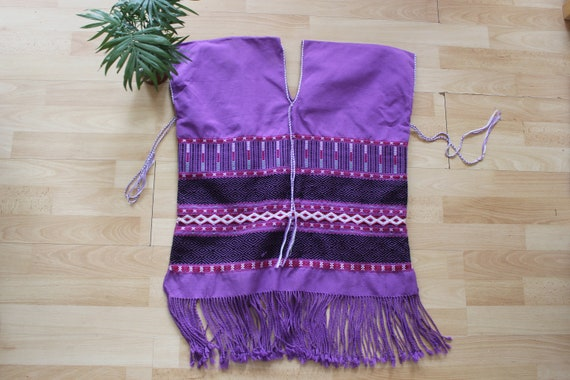 Purple Embroidered hippie Poncho Vest