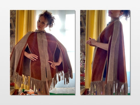 60s/70's Suede Fringed Oversized Cape