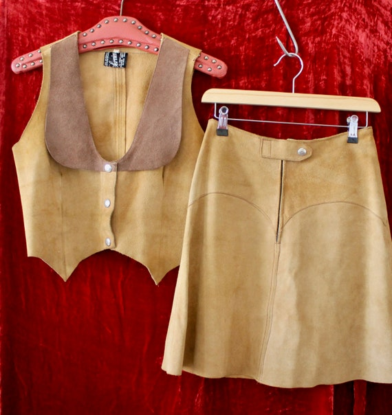 70s Suede two Piece Mini Skirt Set!