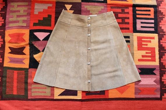 Vtg 60's Mini Suede Skirt