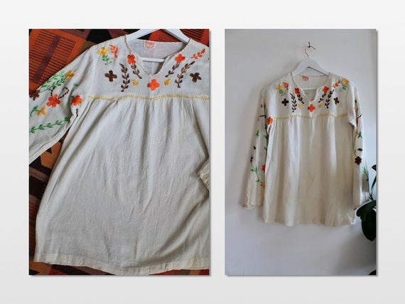 70's Hand Embroidered Hippie cheesecloth blouse