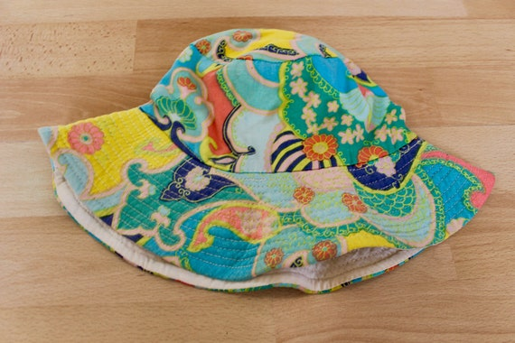 RESERVED RARE 60s Psychedelic Print Bucket Hat - image 2