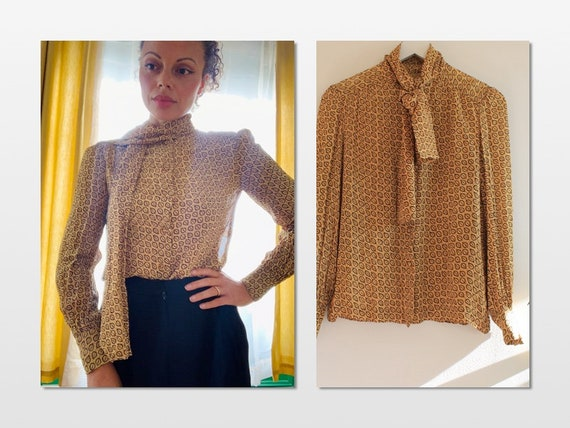 1970s Crepe Mustard Yellow Bow Blouse