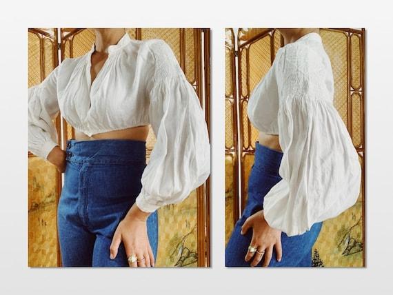 Cotton Linen Cropped Dirndle Peasant Blouse