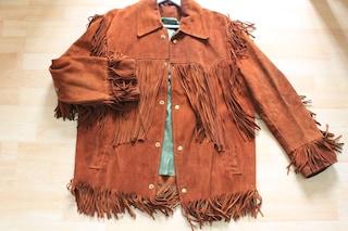 Vintage 70s Tan Suede Buckboard Box Fringed Jacket