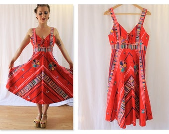 70's Red Atomic Print Cotton Sun Dress