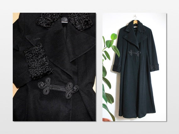 1940's Style Black Wool Princess Cashmere Coat Rus