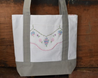 Tote Bag - Canvas Tote - Tote Bag with Vintage Linens