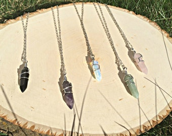 Crystal Pendants Crystal Necklaces Heal Crystal Point Healing Stones Boho Necklace Boho Chic Gypsy Jewelry Hippy Bohemian Necklace