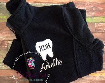 Dental Assistant/Tooth/Dentist Custom Monogrammed Fleece Jacket
