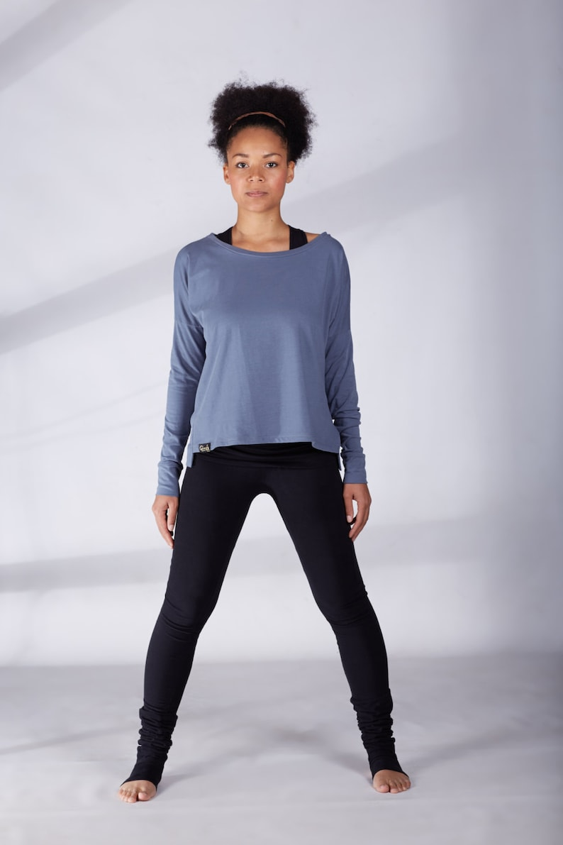 9f84e362d287ff Gray Yoga Top Long Sleeve Top Womens Workout Top Lazy Tee