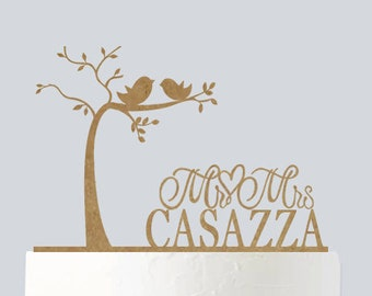 Rustic Wedding Cake Topper - Bride and Groom - Love Birds - Love Tree - Custom Cake Topper A740