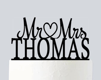 Wedding Cake Topper, Personalized Mr And Mrs With Your Last Name, Custom Cake Topper, Acrylic Wedding Cake Topper A497
