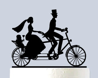 Mr and Mrs Cake Topper - Bicycle cake topper - Mr Mrs with Baby A1089