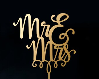 Wedding Cake Topper - Mr and Mrs Cake Topper - Wedding Sign A2026