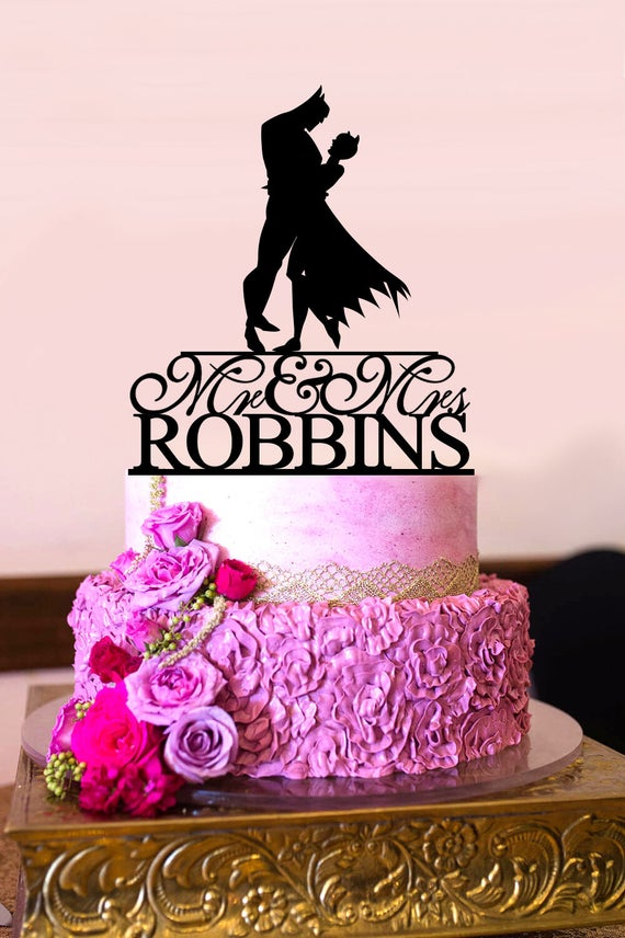 Batman Wedding Cake Topper Bride And Groom Personalized Last Name Mr Mrs Catwoman A2130
