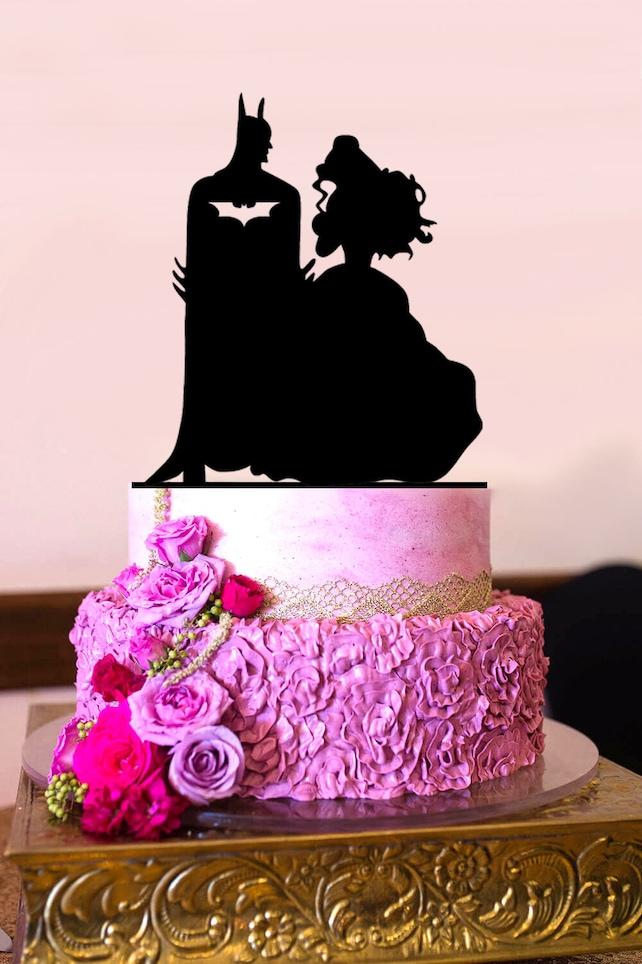 Batman Wedding Cake.Batman Wedding Cake Topper Batman And Belle Couple Silhouette