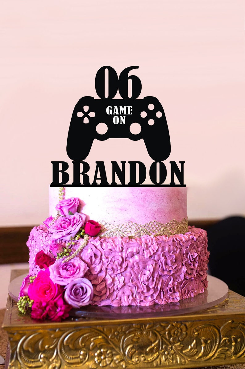 Video Game Cake Topper Birthday Is On