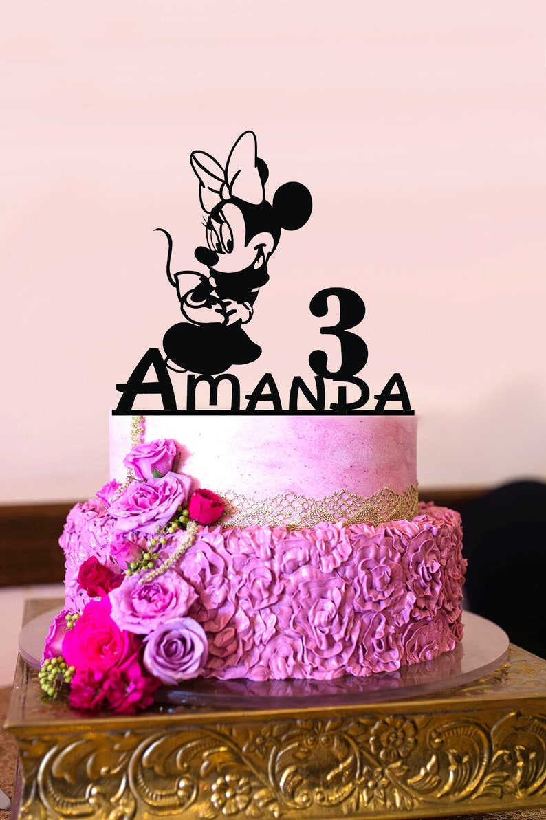 Brilliant Minnie Mouse Birthday Cake Topper Personalized Birthday Cake Etsy Funny Birthday Cards Online Elaedamsfinfo