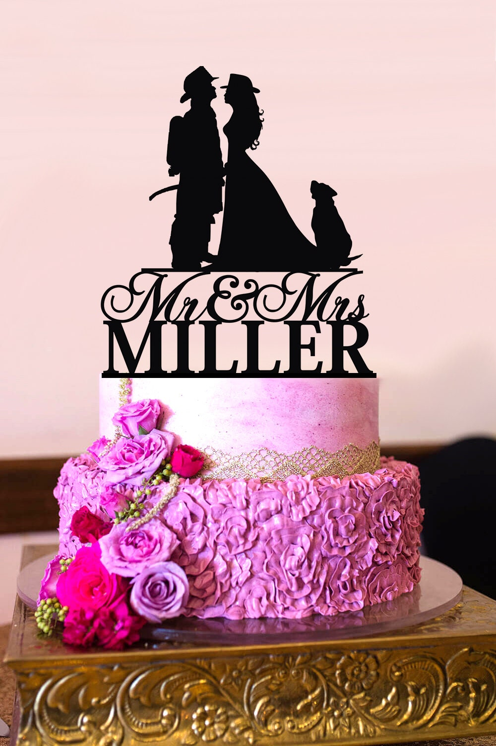 Firefighter Cake Topper Custom Personalized Wedding Cake