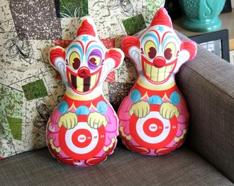 Knock-A-Round Klown Handmade Plush Pillow Doll! (Pink Outline.)
