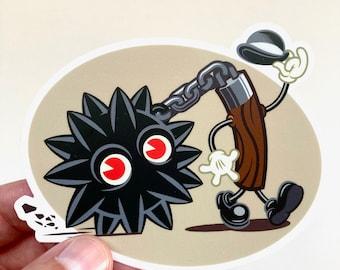 Mr Masher - Old Timey Monster Mace Vinyl Sticker! Retro sticker art!