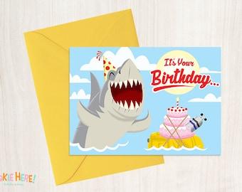 Jaws 1970s Shark Horror Movie Funny Birthday Card 4 by 6 Inch