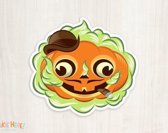 Dandy Jack Old Timey Retro Halloween Jack-o-Lantern Pumpkin Vinyl Sticker! Retro Monster Art!