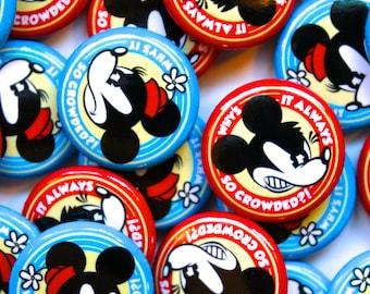 Crowded Theme Park Pinback Button/Badge Set! Funny Cartoon Art!