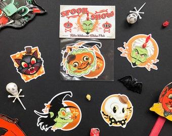 Spook Show Retro Halloween Vinyl Sticker Pack! Retro Monster Art! Set of 5 Stickers- Witch, Skull, Cat, Pumpkin, Magician