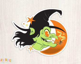 Witchy Woman Old Timey Retro Halloween Witch Vinyl Sticker! Retro Monster Art!