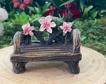 Miniature Garden Bench ~ Gnome Garden ~ Fairy Garden ~ Flowery ~ Dollhouse ~ Gift ~ Room Box ~ Diorama ~ Garden Decor ~ Fairy House