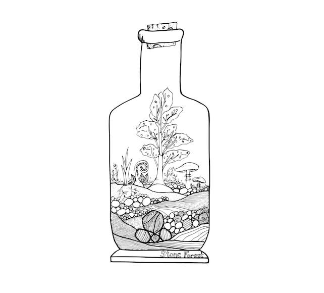 Árbol y página para colorear de setas terrario | Etsy