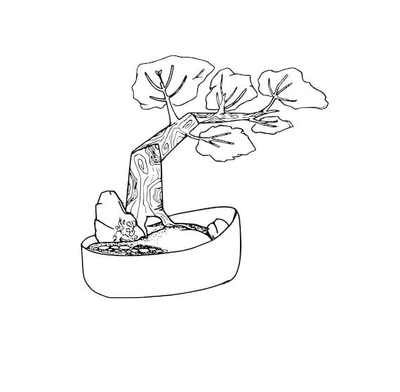 Página para colorear de Bonsai torcida | Etsy