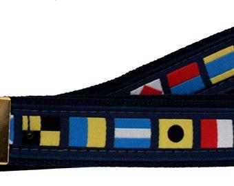 Nautical Code Flag on Navy Web Belt, Military Style