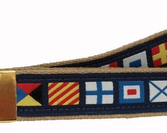 Nautical Code Flag on Khaki Web Belt, Military Style