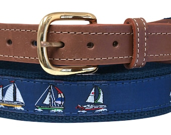 Sail Boat, Sloop, on Navy Webbing, Leather Tip Belt
